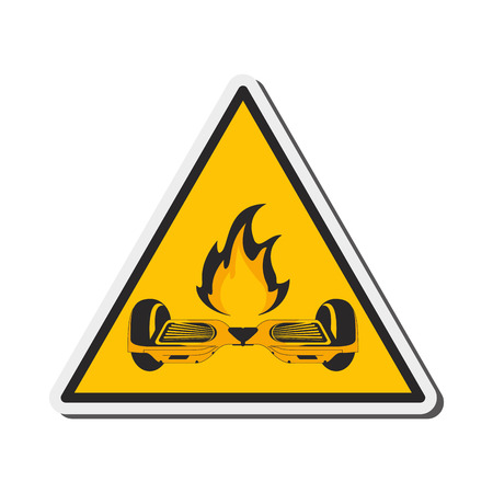 unsafe: flat design horverboard in flames sign icon vector illustration Illustration