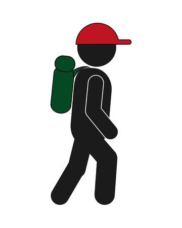 design plat backpacker touristique icône illustration vectorielle