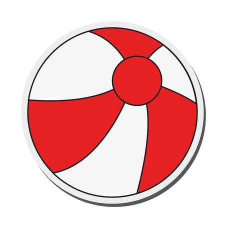 inflatable ball: flat design beach ball icon vector illustration