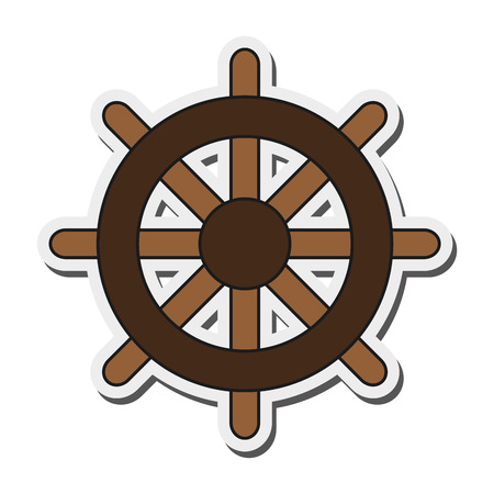 flat design boat rudder icon vector illustration Illustration