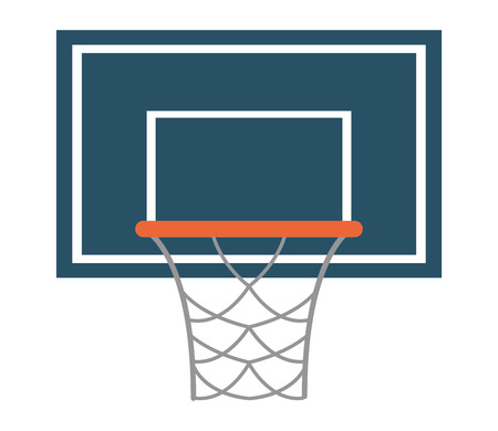 backboard: flat design basketball backboard and net icon vector illustration
