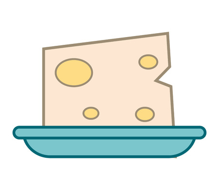 dieting: flat design cheese on plate icon vector illustration Illustration