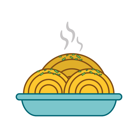 flat design spaghetti dish icon vector illustration Illustration