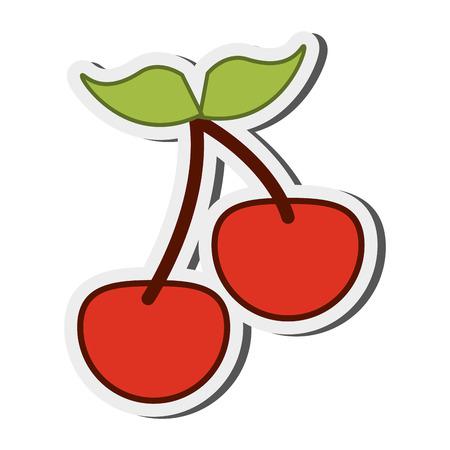 cherries isolated: flat design cherry pair icon vector illustration Illustration