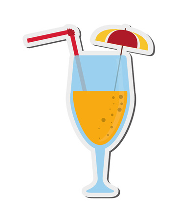 flat design tropical cocktail icon vector illustration