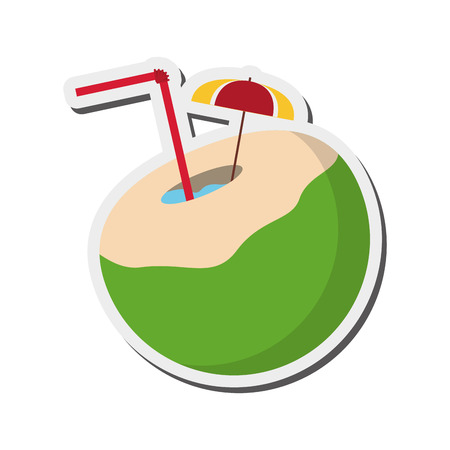 flat design tropical cocktail icon vector illustration Vektorové ilustrace
