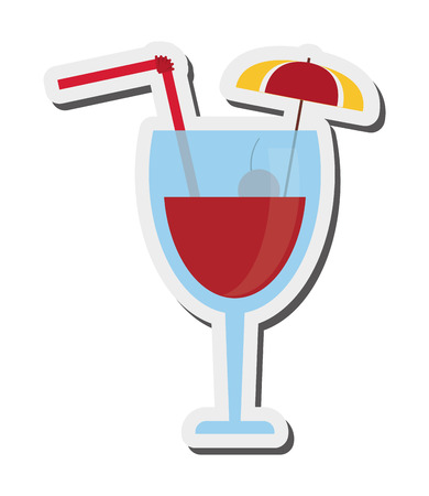 daiquiri alcohol: flat design tropical cocktail icon vector illustration