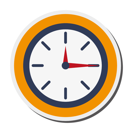 flat design analog wall clock icon vector illustration Illustration