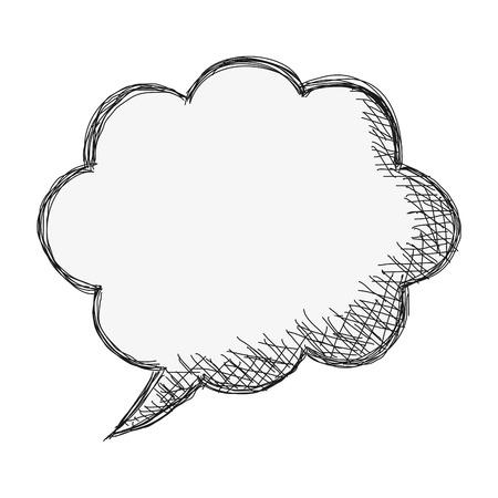 dialog balloon: flat design sketch conversation bubble icon vector illustration