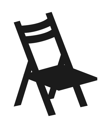 flat design single folding chair icon vector illustration