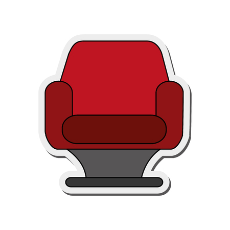 cushioned: flat design single cushioned chair icon vector illustration