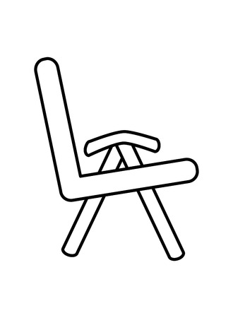 flat design single cushioned chair icon vector illustration