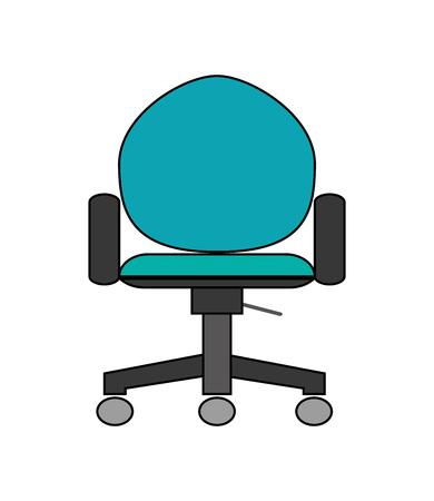 flat design office chair icon vector illustration
