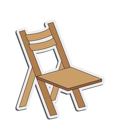 flat design single folding chair icon vector illustration
