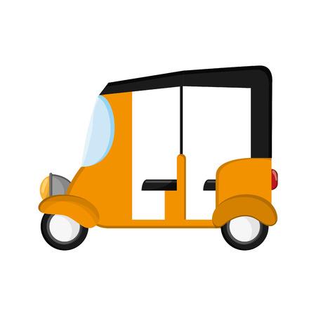 flat design rickshaw or tuk tuk icon vector illustration Ilustração