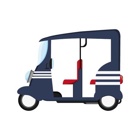 rikscha: flaches Design blau Rikscha oder Tuk Tuk Symbol Vektor-Illustration