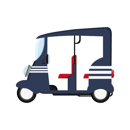 auto rickshaw: flat design blue rickshaw or tuk tuk icon vector illustration