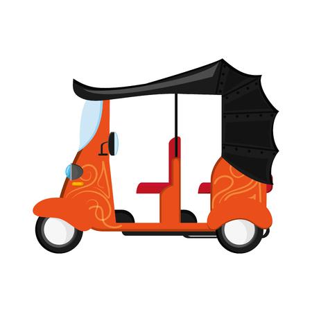 rikscha: flat design orange rickshaw or tuk tuk icon vector illustration