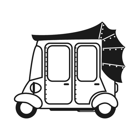 flat design rickshaw or tuk tuk icon vector illustration Illustration