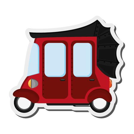 rikscha: flaches Design rot Rikscha oder Tuk Tuk Symbol Vektor-Illustration Illustration