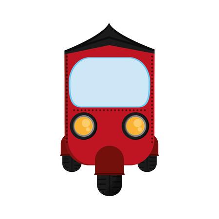 tuk: flat design red rickshaw or tuk tuk icon vector illustration