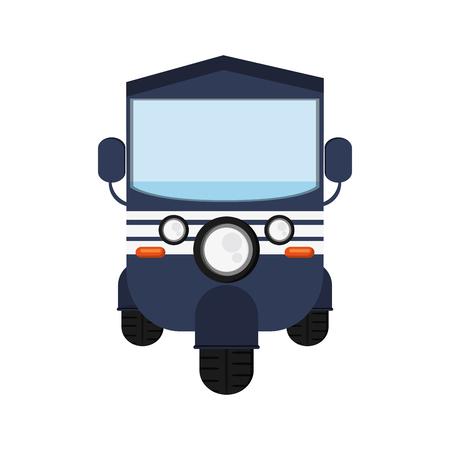 commuting: flat design blue rickshaw or tuk tuk icon vector illustration