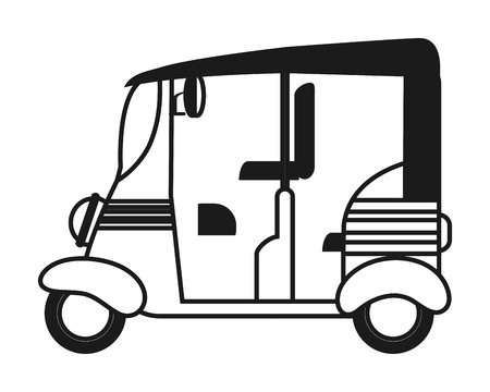 auto rickshaw: flat design rickshaw or tuk tuk icon vector illustration Illustration