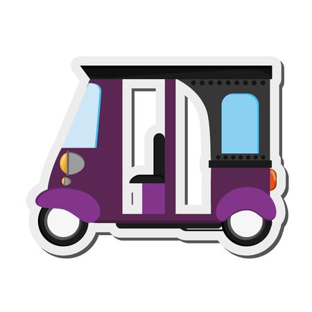 rikscha: flat design purple rickshaw or tuk tuk icon vector illustration Illustration