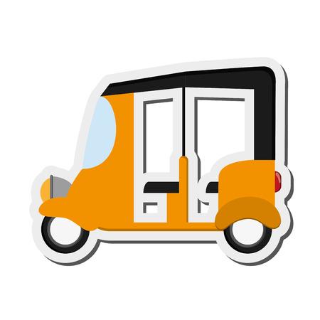 commuting: flat design rickshaw or tuk tuk icon vector illustration Illustration