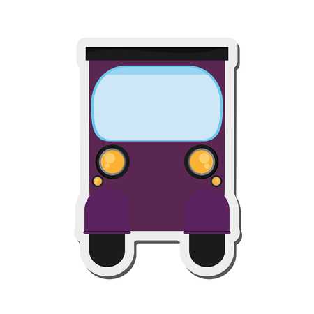 commute: flat design purple rickshaw or tuk tuk icon vector illustration Illustration