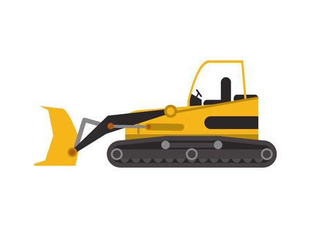 backhoe: flat design industrial backhoe icon vector illustration