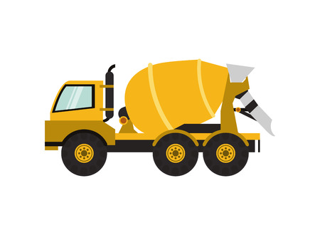 concreting: flat design cement mixer truck icon vector illustration