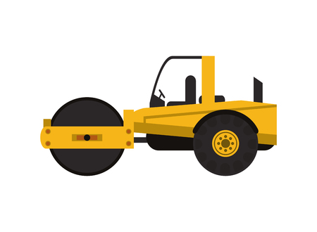 steamroller: flat design industrial steamroller icon vector illustration Illustration