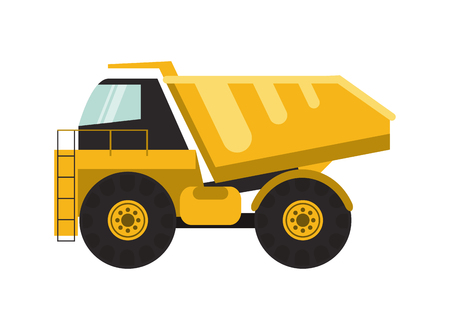 mine site: flat design dump truck icon vector illustration Illustration