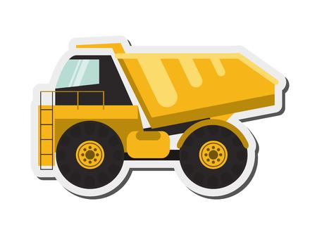 mine site: flat design dump truck icon vector illustration Illustration