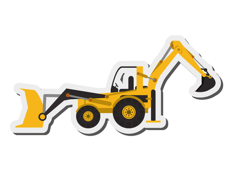 earth mover: flat design industrial backhoe icon vector illustration