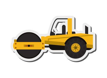 flat design industrial steamroller icon vector illustration Illustration