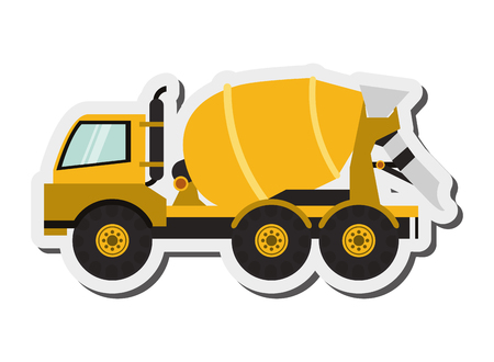flat design cement mixer truck icon vector illustration