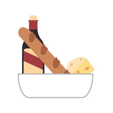 brie: flat design baguette wine and cheese icon vector illustration