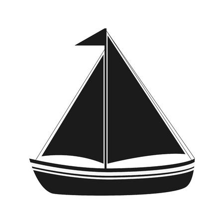 sail boat: flat design sail boat icon vector illustration
