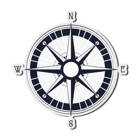 global positioning system: flat design navigation compass icon vector illustration