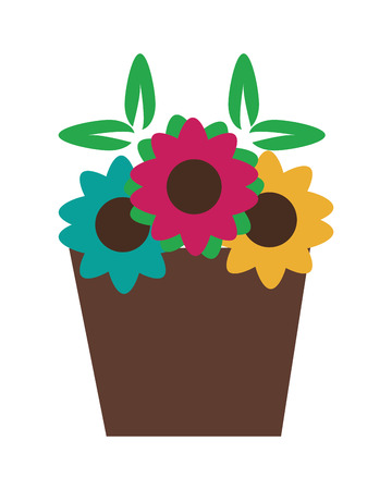 flat design Basket with flowers vector illustration