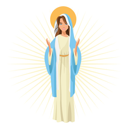 pastel colored: Holy mary woman girl cartoon religion saint icon. Pastel colored and isolated illustration. Vector graphic Illustration