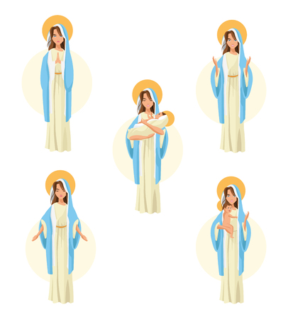 Holy mary woman girl baby jesus cartoon religion saint icon. Pastel colored and isolated illustration. Vector graphic