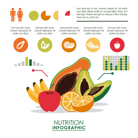 Nutrition and Healthy food concept represented by Infographic icon. Colorfull and flat illustration. Illustration