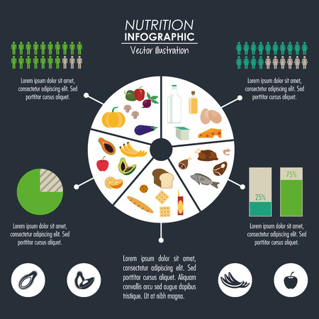 banana bread: Nutrition and Healthy food concept represented by Infographic cake icon. Colorfull and flat illustration.
