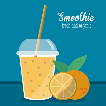 orange juice glass: smoothie orange juice glass drink healthy icon. Colorfull and flat illustration. Vector graphic