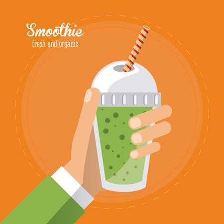 mixed drink: smoothie green juice glass drink healthy icon. Colorfull and flat illustration. Vector graphic