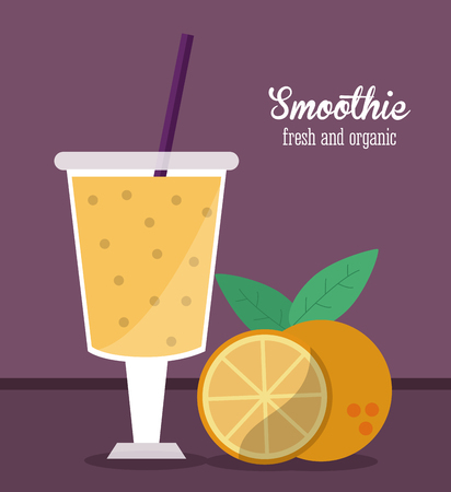 blended: smoothie orange juice glass drink healthy icon. Colorfull and flat illustration. Vector graphic