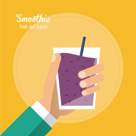 mixed drink: smoothie purple juice glass drink healthy icon. Colorfull and flat illustration. Vector graphic